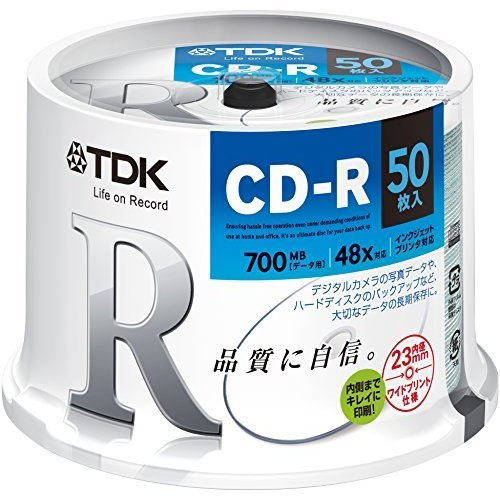 TDK データ用CD-R 700MB 48倍速対応 ホワイトワイドプリンタブル 50枚スピンドル CD-R80PWDX50PE|tlinemarketing