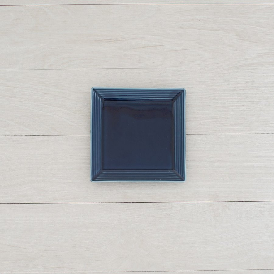 TLP BORDER 14cm SQUARE PLATE 角皿 瑠璃色 青ブルー|tlp