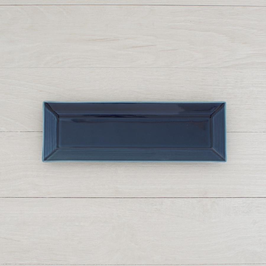 TLP BORDER 27x9cm RECTANGLER PLATE 長角皿 瑠璃色 青ブルー tlp