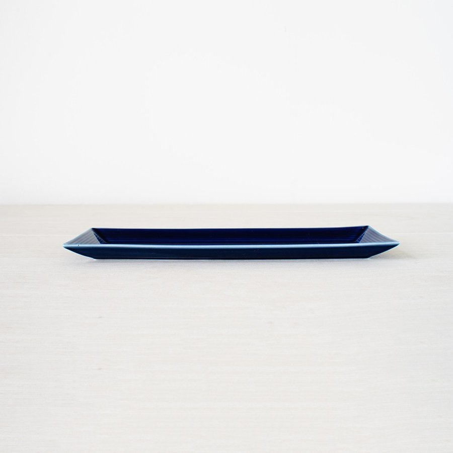 TLP BORDER 27x9cm RECTANGLER PLATE 長角皿 瑠璃色 青ブルー tlp 02