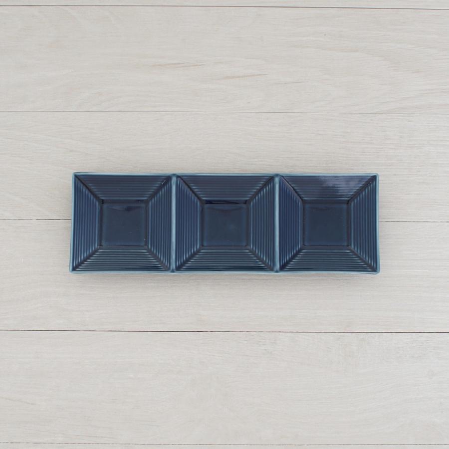 TLP BORDER 3SPICES PLATE 3連仕切り小皿 瑠璃色 青ブルー|tlp