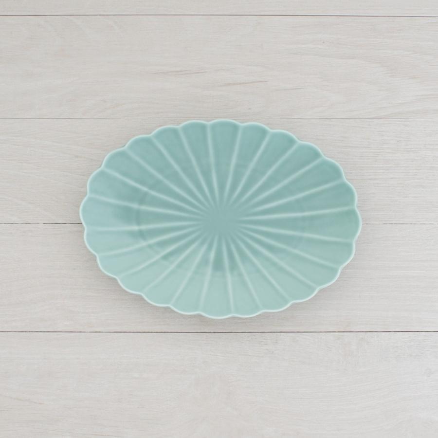 TLP KIKU 25cm OVAL  PLATE オーバルプレート菊皿 青ターコイズブルー|tlp