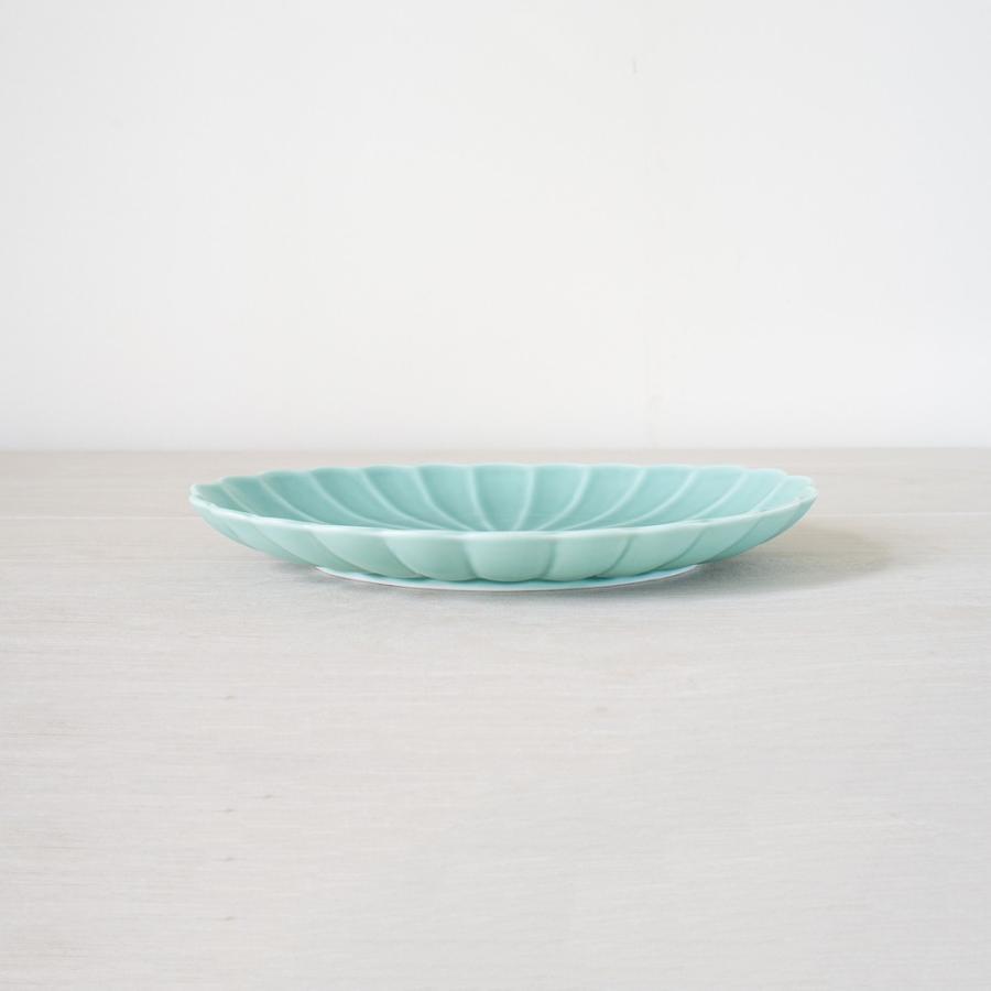 TLP KIKU 25cm OVAL  PLATE オーバルプレート菊皿 青ターコイズブルー|tlp|02