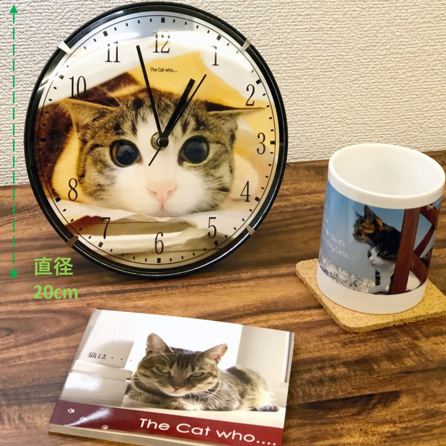 アートフォト壁掛け時計 The Cat who.... 子猫のジェリー (静音 静かな 写真壁時計 Art Photo Cats Clock  子供部屋 リビング とけい 送料無料) tm1 02