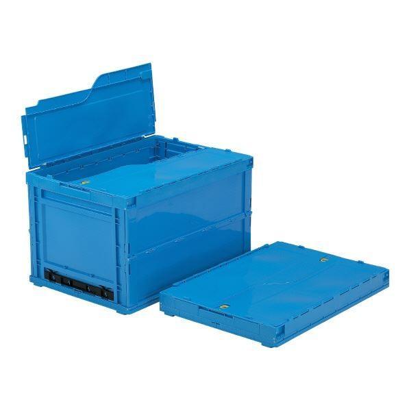 三甲(サンコー) 折りたたみコンテナボックス/サンクレットオリコン (フタ付き) P152B ブルー(青)(代引不可)