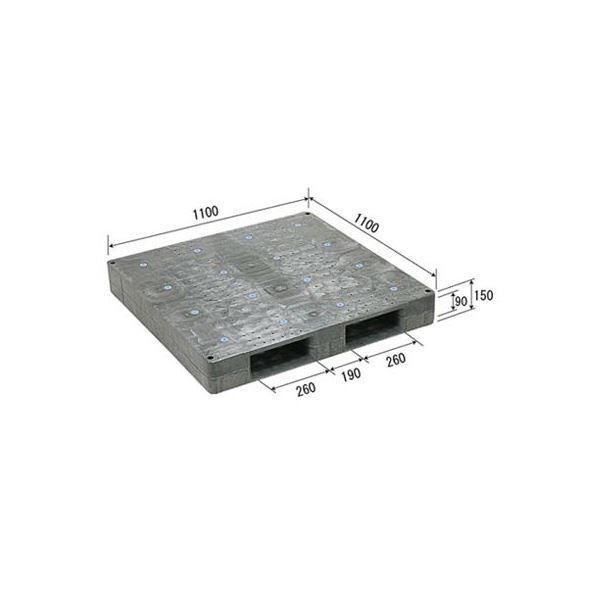 三甲(サンコー) プラスチックパレット/プラパレ (片面使用型) 軽量 D-1111F グレー(灰)(代引不可)