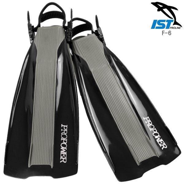 ダイビングフィン/足ひれ (ストラップ型 XLサイズ) ブラック ラバー 柔軟性 「PROPOWER ISTPROLINE F-6」