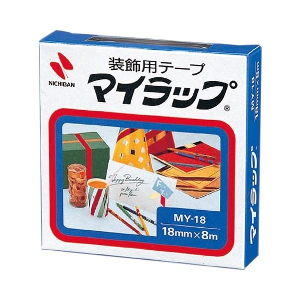 (まとめ) ニチバン 装飾用テープ マイラップ幅18mm×長さ8m 青 MY-184 1巻 (×50セット)