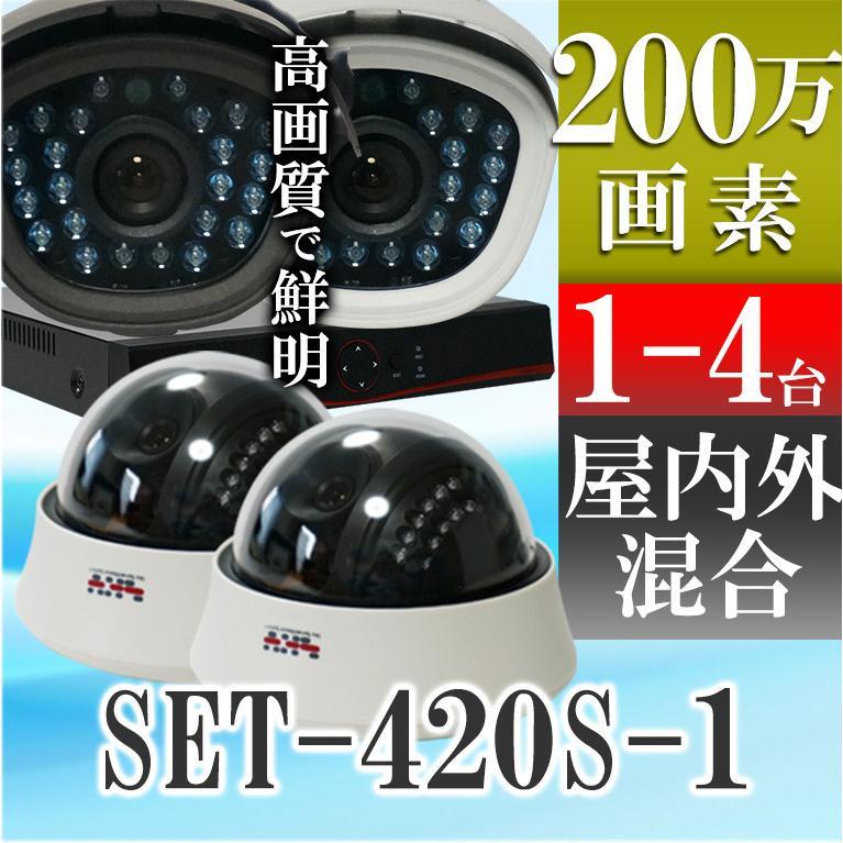 防犯カメラ マイク搭載 集音 200万画素 赤外線搭載 1TB HDD 屋外用防水、屋内ドームから選べるレコーダーと監視カメラ1〜4台セット SET-A115U SONYセンサー tmts