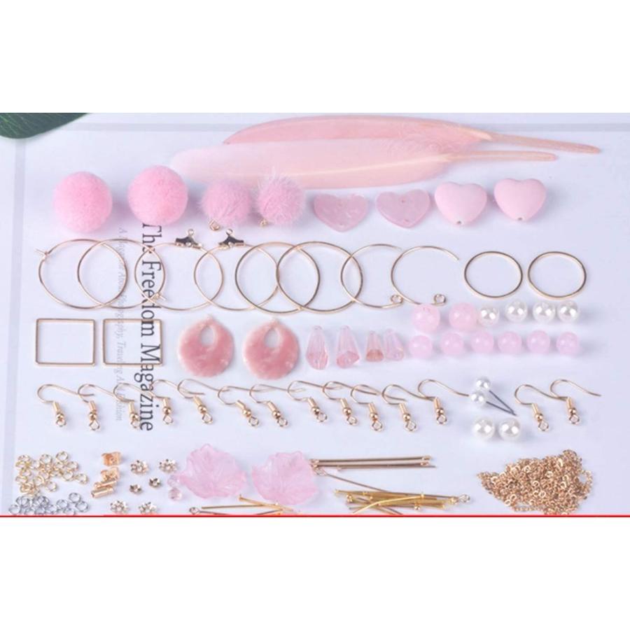PBY ピアスが10個作れる キット セット アクセサリー 可愛い ピアス イヤリング 基礎金具 (ハート(ピンク)) tmy-tmy-tmy 02