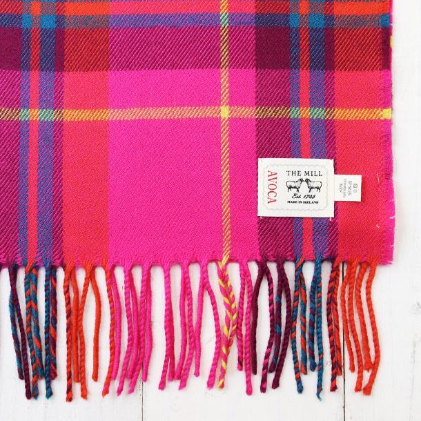 おしゃれ ブランド マフラー メリノウール } AVOCA アヴォカ Merinowool Scarves HOT PINK CHECK (177137) ピンク|tn-square|02