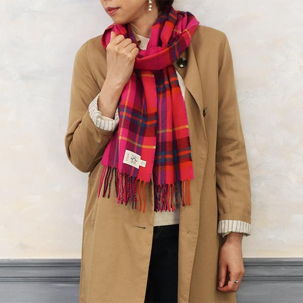 おしゃれ ブランド マフラー メリノウール } AVOCA アヴォカ Merinowool Scarves HOT PINK CHECK (177137) ピンク|tn-square|05