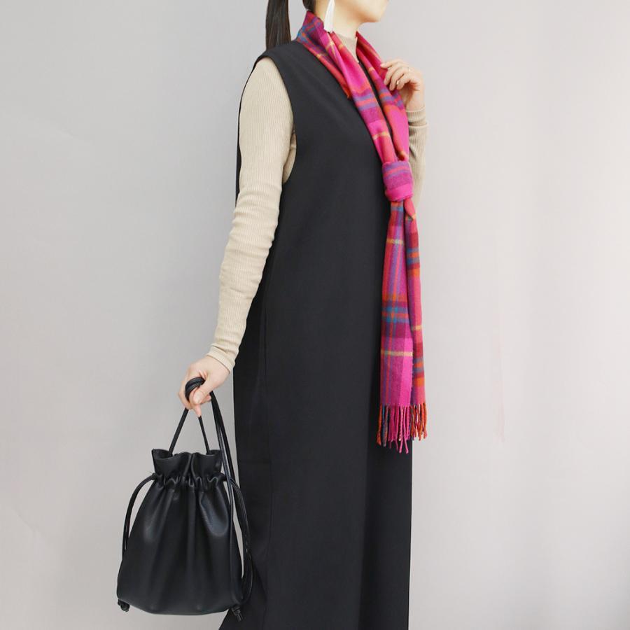 おしゃれ ブランド マフラー メリノウール } AVOCA アヴォカ Merinowool Scarves HOT PINK CHECK (177137) ピンク|tn-square|06
