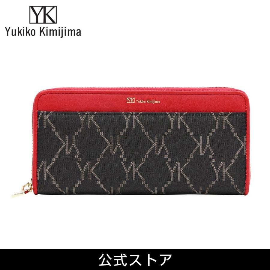 長財布 レディース Yukiko Kimijima ユキコ キミジマ ラウンドファスナー BK/RED 黒×赤 YK019-005 (183287)|tn-square