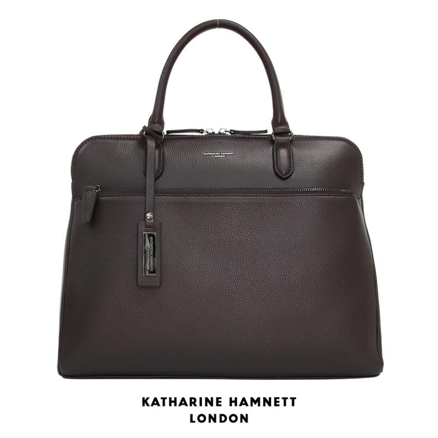 トートバッグ メンズ レザー 本革 KATHARINE HAMNETT LONDON キャサリンハムネット アウトレット ブラウン KH1643 (192889)プレゼント tn-square