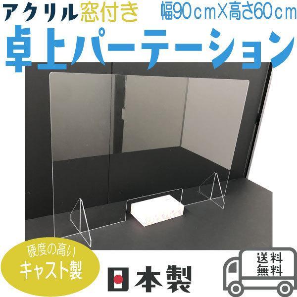パーテーション 透明 おしゃれ 卓上 窓口付き アクリル キャスト製 幅900×高さ600 toat-pldn 01