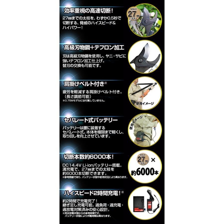 ニシガキ工業 太丸充電S1500 充電式太枝切鋏 N-922 長さ1.5m 重量2.0kg (14.4V 7.0Ahバッテリー・充電器付き)|tobeyaki|03