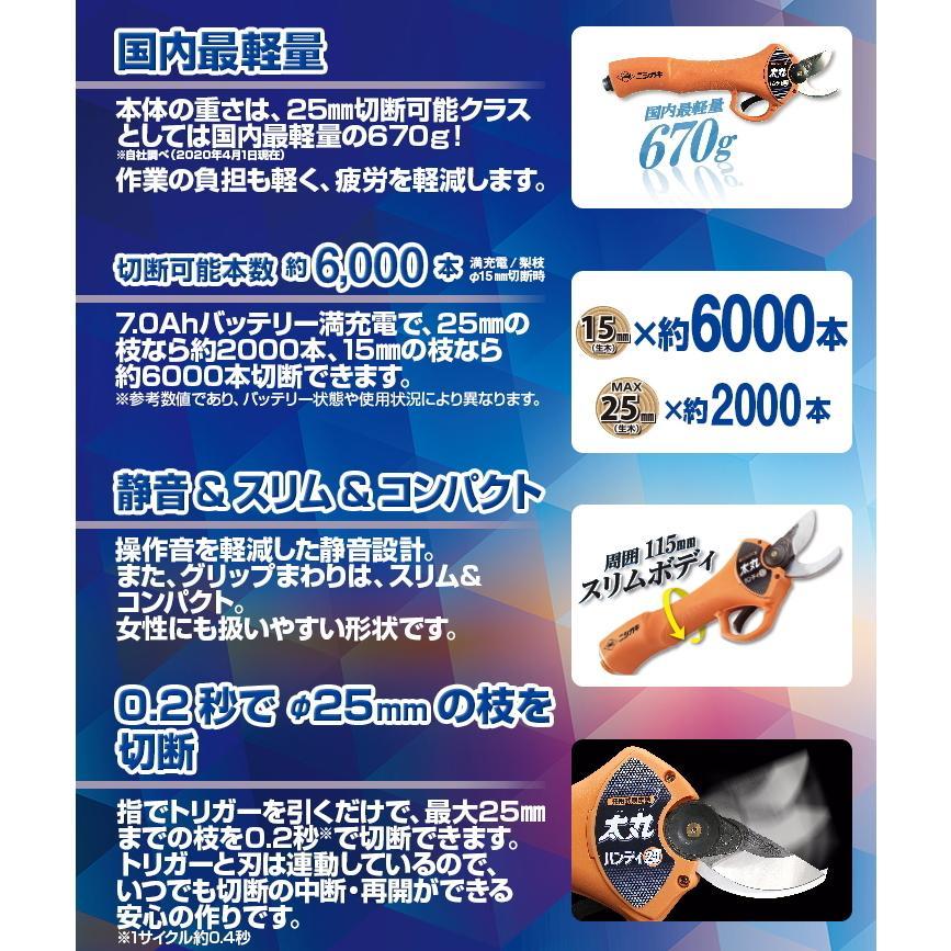 ニシガキ工業 太丸ハンディ25 充電式剪定鋏 N-928 本体重量670g (バッテリー・充電器付き)|tobeyaki|03