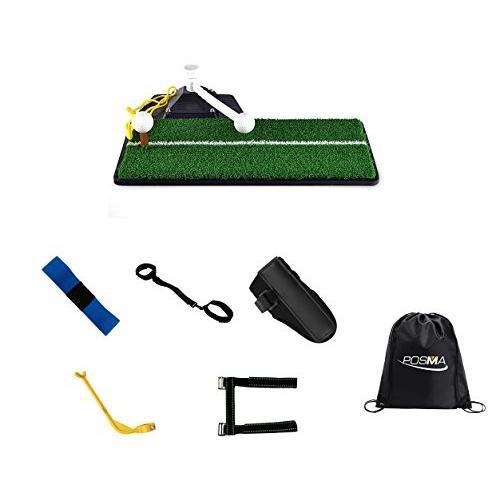 Posma ST070A ゴルフスイングマット 肘ブレース 手足姿勢修正 ゴルフ 補助器具 Posma収納用の黒バッグ