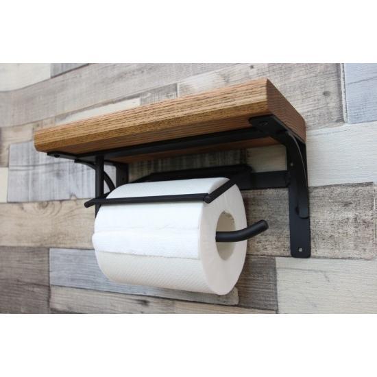 トイレットペーパーホルダー  棚付 アイアン ブラック 黒 P-17 toiletas 02