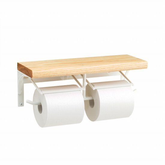 トイレットペーパーホルダー  アイアン ホワイト 2連 棚付 PW-14|toiletas