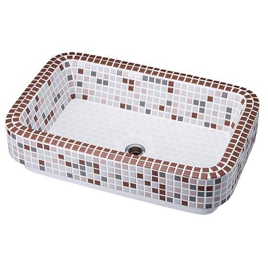 洗面器 シンク 洗面台 トイレ 玄関 タイル おしゃれ  洗面ボウル レクタングル ブラウン