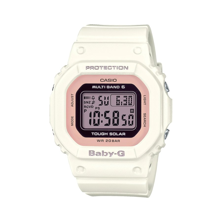 BABY-G ベビージー BGD-5000U-7DJF 電波ソーラー 国内正規品 スクエアモデル レディース 女性向け腕時計 ホワイト×ピンク|tokei-akashiya