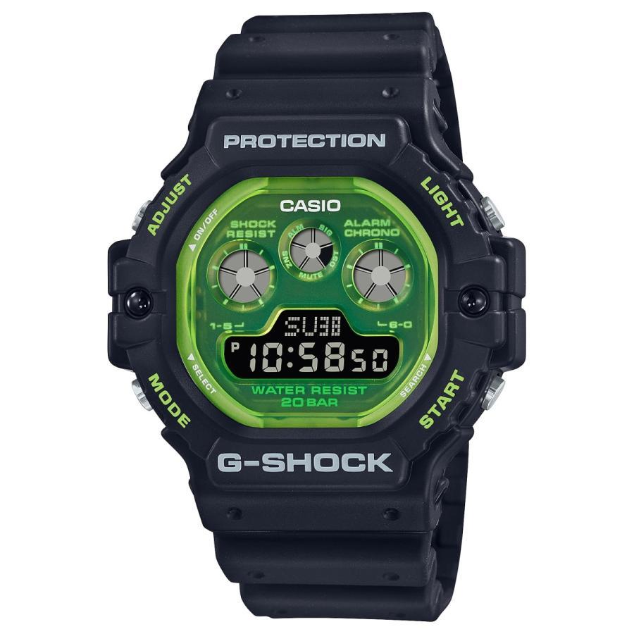 G-SHOCK ジーショック DW-5900TS-1JF 透明蛍光文字板 ブラック×グリーン ウレタンバンド 20気圧防水 メンズ 腕時計 CASIO カシオ tokei-akashiya