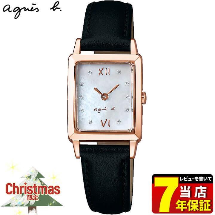 速くおよび自由な SEIKO セイコー agnesb. アニエス・ベー セイコー オム 2019 クリスマス限定モデル カーフ レディース 腕時計 ブラック ローズゴールド FCSK720 国内正規品, ノミグン 4da8c568