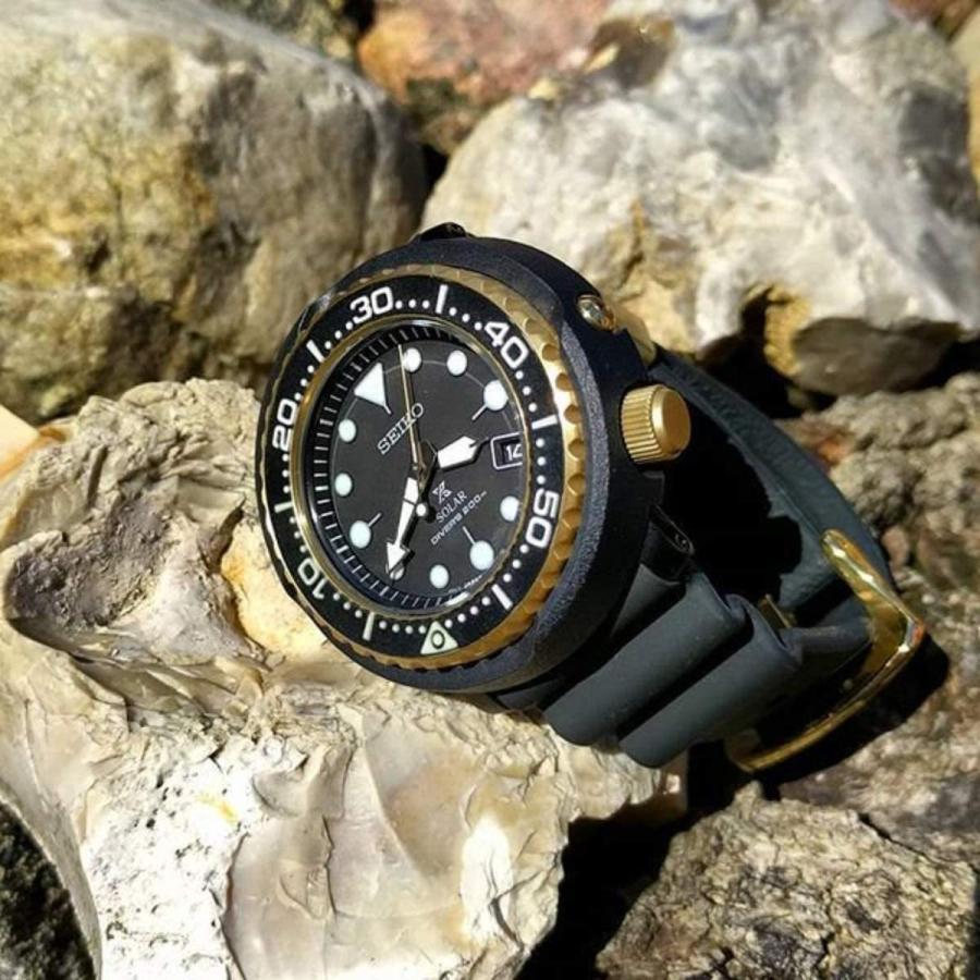 SEIKO(セイコー) PROSPEX SNE556P1(旧品番:SNE498P1)  プロスペックス ソーラークォーツダイバー ツナ缶 ブラック ゴールド 200m防水|tokizen|03