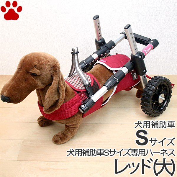 お取り寄せ / ペットアドバンス ドギーサポーター S 専用ハーネス セット 大 レッド 犬用補助車+ハーネス 歩行器 車椅子 ピカコーポレイション