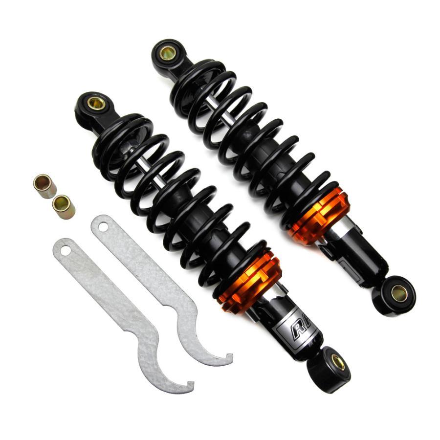 汎用品 バイク用 リアサスペンション 公式ショップ リアショック 280mm リヤサス 2段階式スプリングプリロード 黒 永遠の定番 TOKUTOYO トクトヨ ブラックボディ ブラックスプリング