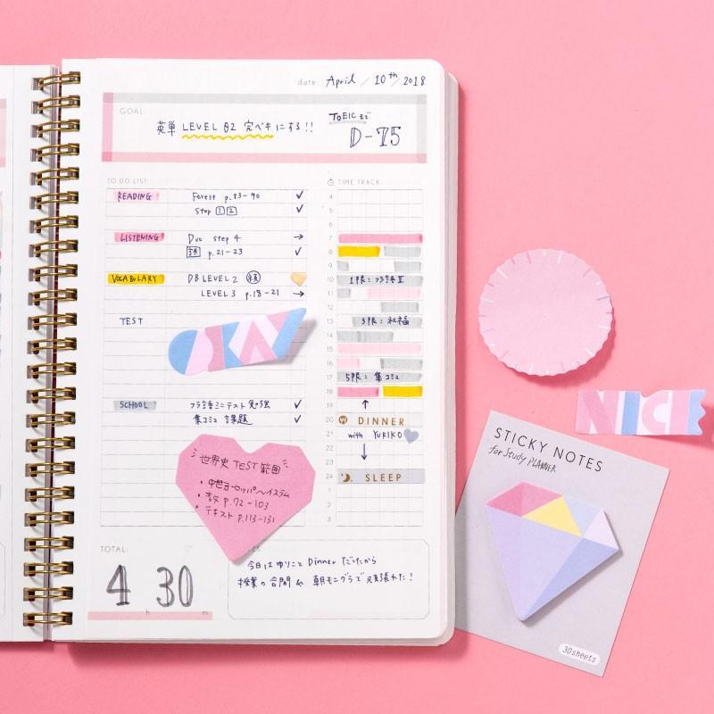 スタディプランナー ふせん STICKY ROLL STUDY PLANNER 手帳 勉強 計画 受験 韓国 ステーショナリー スケジュール かわいいおしゃれ ピンク (gsn)|tonary|06