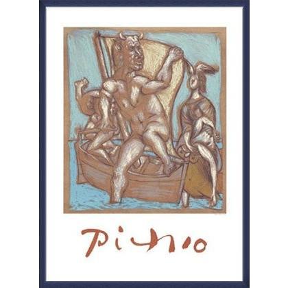 ポスター パブロ ピカソ Femme et Minotaure 限定2000枚 額装品 ウッドベーシックフレーム(ブルー)