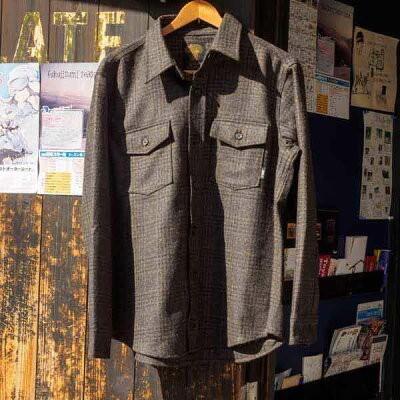 サイズ限定セール 緑 clothing グリーンクロージング WOOL FLANNEL SHIRTS ウールフランネルシャツ 褐色 CHECK【ミッドレイヤー】