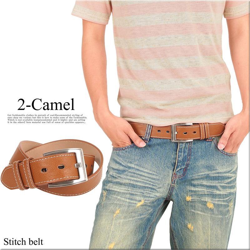 ベルト メンズ ステッチベルト シンプル ベーシック フェイクレザー カラーベルト カジュアル 男性用 ファッション小物|topism|05