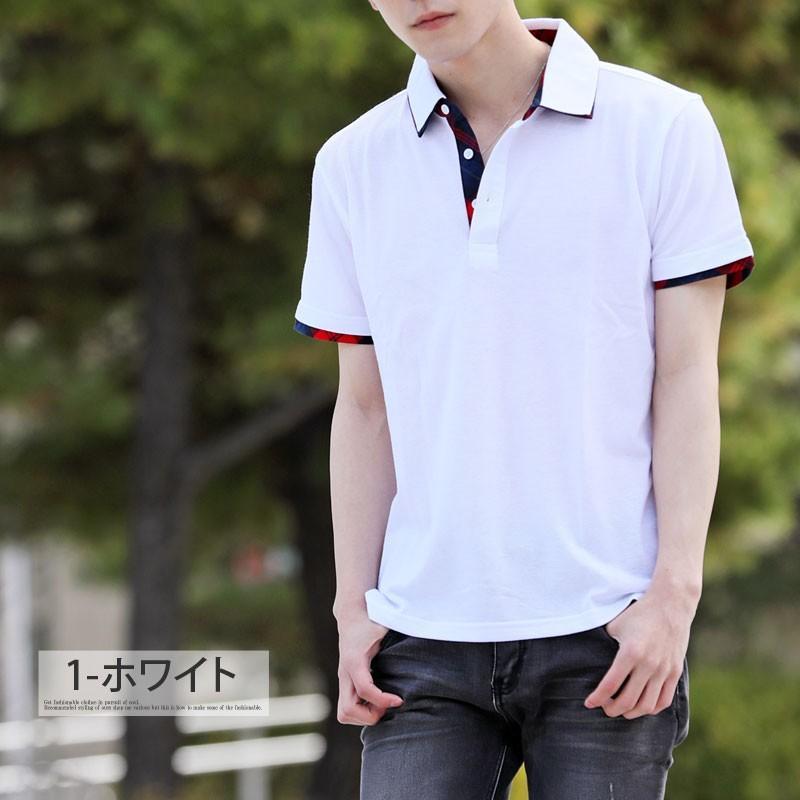 ポロシャツ メンズ 半袖 無地 ポロシャツ 鹿の子 チェック ビズポロ ビジネス Tシャツ 衿 襟 トップス メンズファッション|topism|03