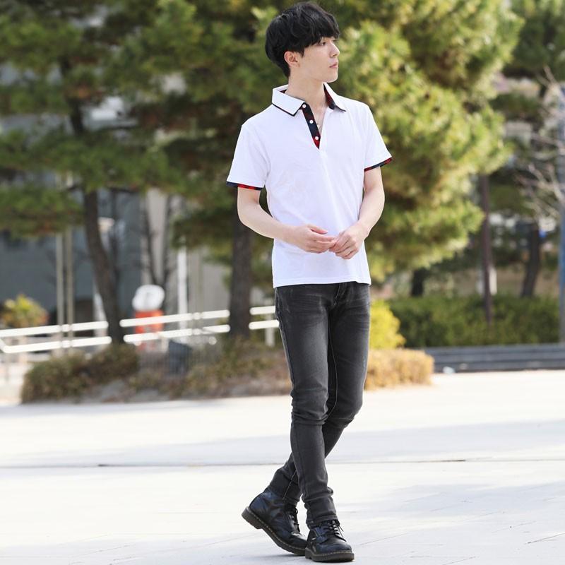 ポロシャツ メンズ 半袖 無地 ポロシャツ 鹿の子 チェック ビズポロ ビジネス Tシャツ 衿 襟 トップス メンズファッション|topism|04