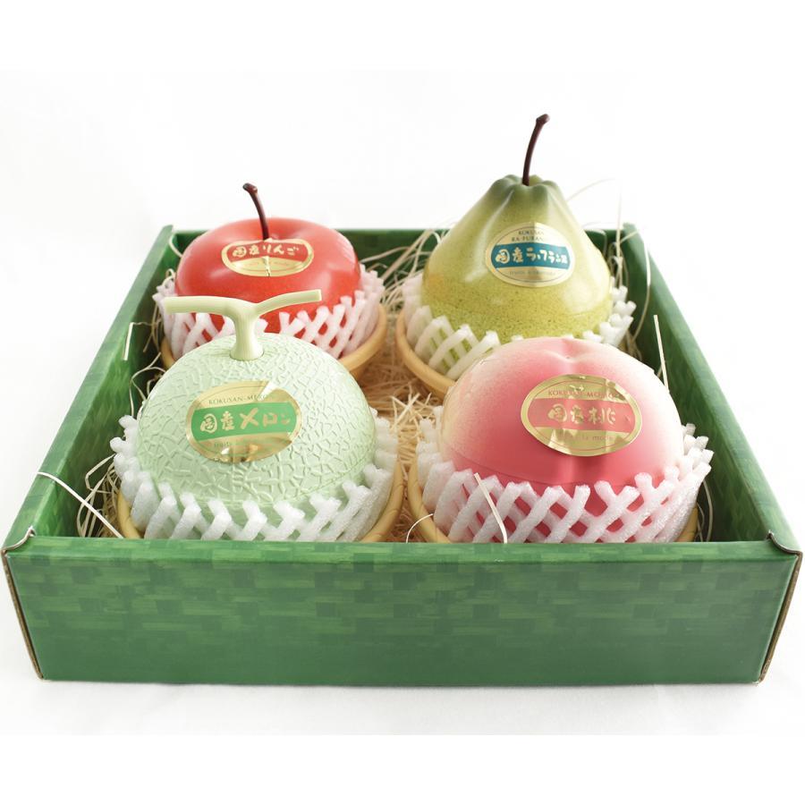 フルーツアラモード 4個入 ゼリー ギフト りんご ラフランス もも メロン  かわいい フルーツ容器入 フルーツゼリー 内祝  京寿楽庵 お取り寄せ お中元 父の日|toraya-sweets