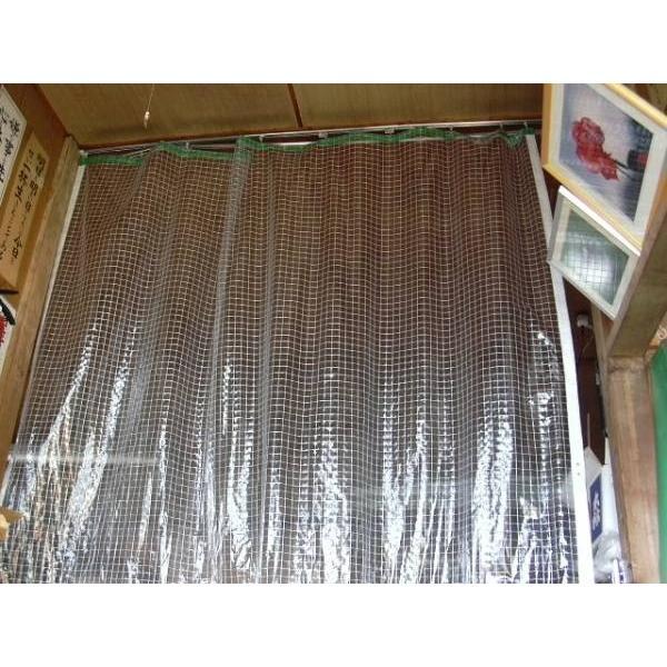 糸入りビニールカーテン  0.3mm 幅 4m × 高さ 2.4m  (オーダー可)(2)