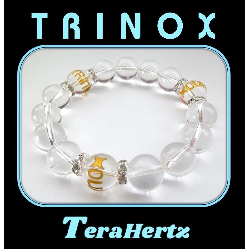 TRINOXテラヘルツ加工 パワーストーンブレス クリスタル 水晶 12mm玉 TRINOXロゴ水晶 12mm玉  ロンデル 銀 8mm NEWスムーズ TRINOXシール 8枚 試供品 付き|torinox-store