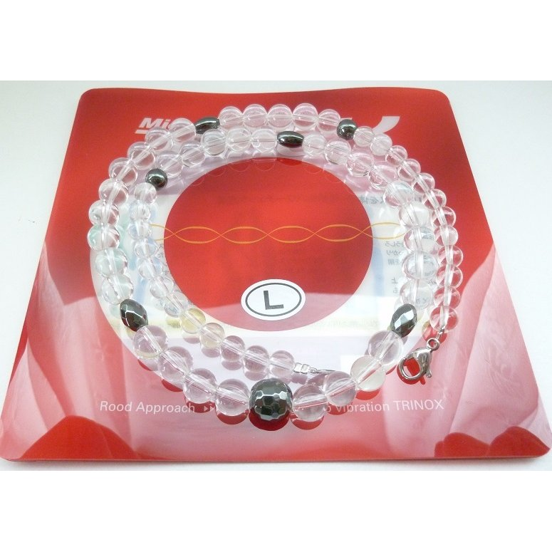 TRINOX テラヘルツ ハイパーネックレス クリアー L 50cm 水晶 カット水晶 磁気ヘマタイト チタン 6mm / 8mm テラヘルツシール付き 試供品8枚|torinox-store|05
