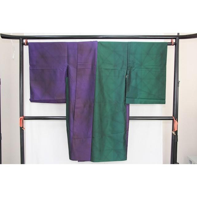 送料無料 訳あり実店舗キャリー在庫 正絹 羽織 コート地 本場大島紬 緑×紫 女性用 着物 和装 道