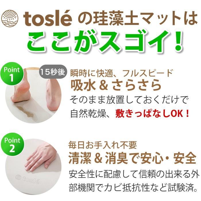 トスレ 北海道稚内産珪藻土マット オーバル プレーンM tosle|tosle|09