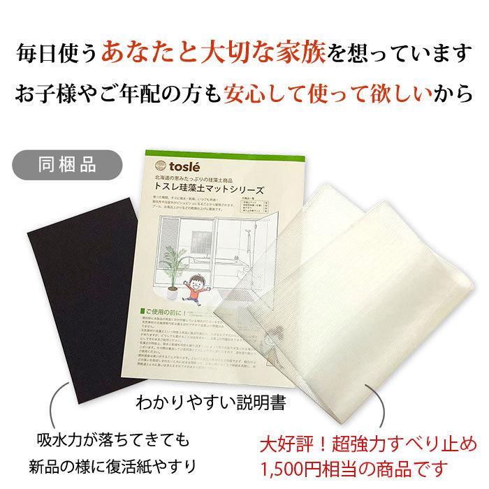 トスレ 北海道稚内産珪藻土マット スクエアモダンドットラインM tosle|tosle|07