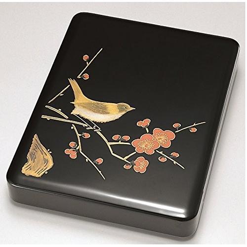 越前漆器 漆遊館 歳時記 G4325-06 梅に鶯 硯箱 化粧箱 25.8×19.7×4.3cm