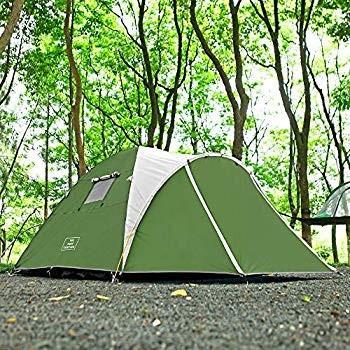 STARHOME前室あり 3-4人用 開放テント ツーリングドームテント 1人でも設営しやすい (グリーン)