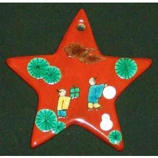 クリスマスオーナメント お待たせいたしました! 九谷焼陶器クリスマス・オーナメント『木米風星のオーナメント〜雪だるま』約10cm touban-art