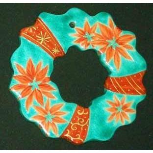 クリスマスオーナメント お待たせいたしました! 九谷焼陶器クリスマス・オーナメント『呉須赤絵風〜ポインセチアのリース』約9cmΦ|touban-art