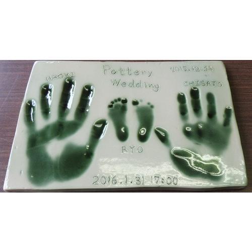 【お家で陶芸〜手形足形タイルEサイズ】家族やペットの手形足形をタイルにしませんか。 touban-art 05